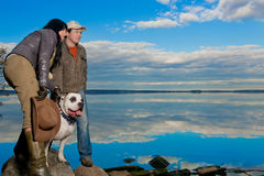 Husband,wife and theirs dog stock photos