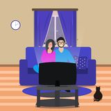 Husband and wife watching tv screen sitting on the couch in their living room. VEctor stock illustration