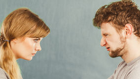 Husband and wife yelling and arguing. Royalty Free Stock Image