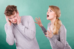 Husband and wife yelling and arguing. Royalty Free Stock Images
