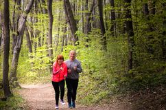 Husbanf und tragende Sportkleidung und Betrieb der Frau im Wald lizenzfreie stockfotografie