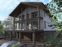 Häuschen mit Garage auf der Seite Stockbilder