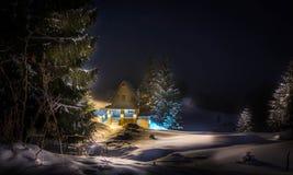 Huscoverd med snö royaltyfria bilder