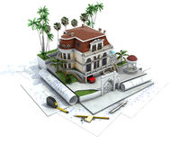 Husdesignframsteg, arkitekturvisualization stock illustrationer