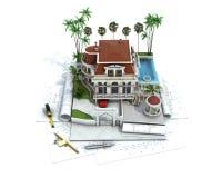 Husdesignframsteg, arkitekturvisualization vektor illustrationer