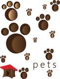 Husdjur- och djurfotmoment och spår vektor illustrationer