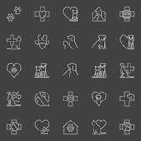 Husdjur och veterinär- linje symboler vektor illustrationer