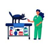 Husdjur som ansar begrepp För klippkatter för ung kvinna jordluckrare Kattomsorg som ansar, hygien, hälsa Husdjuret shoppar, till royaltyfri illustrationer