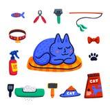 Husdjur som ansar begrepp Gullig sova katt och uppsättning av katttillbehör Husdjuret shoppar material, omsorg som ansar, hygien, royaltyfri illustrationer