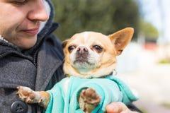 Husdjur, tamdjur, säsong och folkbegrepp - lycklig man med hans hund som utomhus går Royaltyfria Bilder