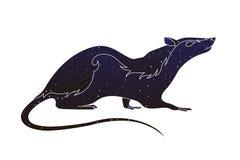 Husdjurgnagare Vektorlinjen tjaller den djura illustrationen, konturn för färg för natthimmel som isoleras på vit bakgrund stock illustrationer