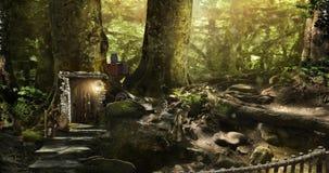 Husdvärgar och älvor i en magisk skog Arkivfoto