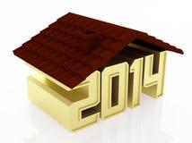 Huse concept, 2014. Golden 2014 text under house roof. 3d rendered illustration royalty free illustration