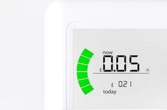 Husenergimeter som visar kostnaden per för electr Arkivbilder