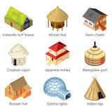 Häuser des unterschiedlichen Nationsikonen-Vektorsatzes Lizenzfreie Stockbilder