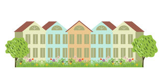 Häuser und Garten Stockfoto