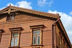Huset är i rysk stil, Andriyivskyy nedstigning 19, Kyiv, Ukraina Arkivbilder