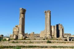 Huset av kolonner i romare fördärvar, den forntida romerska staden av Volubilis morocco Royaltyfri Foto