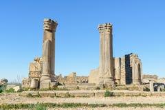 Huset av kolonner i romare fördärvar, den forntida romerska staden av Volubilis morocco Royaltyfri Fotografi