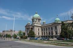 Huset av nationalförsamlingen av Serbien lokaliseras på Nikol arkivfoto