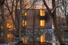 Huset avfyrar på Arkivfoton