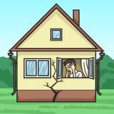 Huset börjar att smula, ägaren är i förtvivlan royaltyfri illustrationer