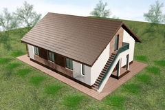 Huset 3D framför flyg- sikt Arkivfoton