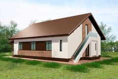 Huset 3D framför jordningssikt Royaltyfria Bilder
