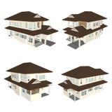 huset 3d modellerar Arkivbilder