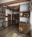 Huset för badet för landsstil, 3D framför Royaltyfri Foto