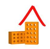 huset för tegelstenar 3d stylized två Arkivbild