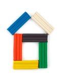 huset gjorde mångfärgad playdough royaltyfri fotografi