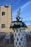 Huset himmel, blommor - planlägg för ett utomhus- bröllop Royaltyfri Foto