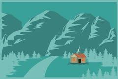 Huset i bergen sänker bakgrundsvektorillustrationen Vektor Illustrationer