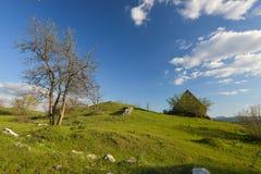 Huset i kullarna på våren i Montenegro Royaltyfri Bild