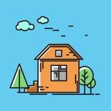 Huset i naturen, ett träd Vektorsymbol, illustration i plan stil Royaltyfri Bild