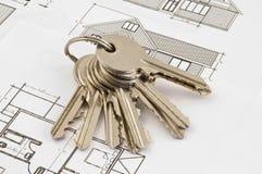 huset keys plan Royaltyfri Bild
