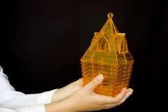 huset little gömma i handflatan arkivbilder