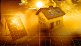 huset panels sol- Fotografering för Bildbyråer