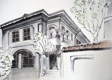huset skissar Arkivfoto