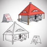 Huset skissar vektorillustrationen Fotografering för Bildbyråer