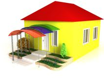 huset terrasserar yellow Royaltyfri Bild