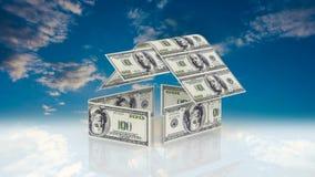 Huset utgöras av kontanta räkningar, begreppet av att investera i konstruktion, pengarkostnader för konstruktion arkivfilmer