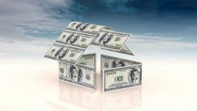 Huset utgöras av kontanta räkningar, begreppet av att investera i konstruktion, pengarkostnader för konstruktion lager videofilmer