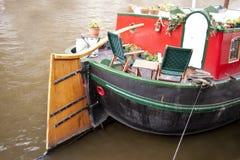 Husfartyg i amsterdam Arkivfoto