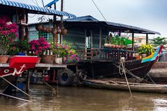 Husfartyg med pappers- blommor, orkidér och gula blommor för beröm Tet för nytt år, Mekong delta, Vietnam royaltyfri bild