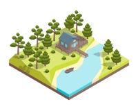 HusForest Lake Concept 3d isometrisk sikt vektor stock illustrationer