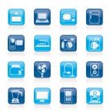 Hushållanordningar och elektroniksymboler Arkivfoton