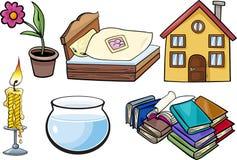 Hushållet anmärker tecknad filmillustrationuppsättningen Arkivbild