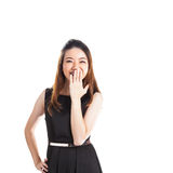 Hush be quiet woman isolated. Beautiful mixed race caucasian / chinese young woman isolated in full length on white background Royalty Free Stock Photography